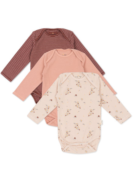 Konges Slojd 3 pack long sleeved bodies - 95% organic cotton - floral/rose/striped red  - 3m to 18m