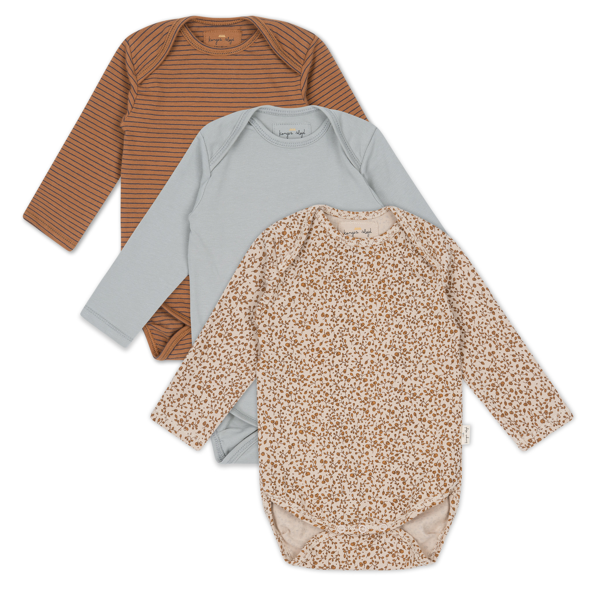 Konges Slojd 3 pack long sleeved bodies - 95% organic cotton - floral/blue/striped  brown - 3m to 18m