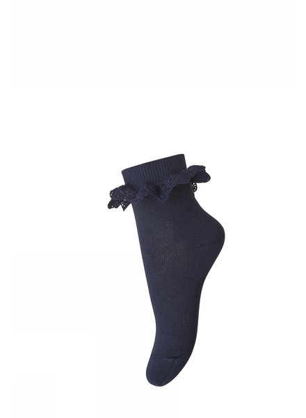 MP Denmark short sock FILIPPA with ruffles - 80% cotton - dark blue - size 19 to 42
