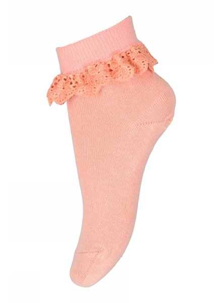 MP Denmark short sock FILIPPA with ruffles - 80% cotton - coral - size 19 to 36