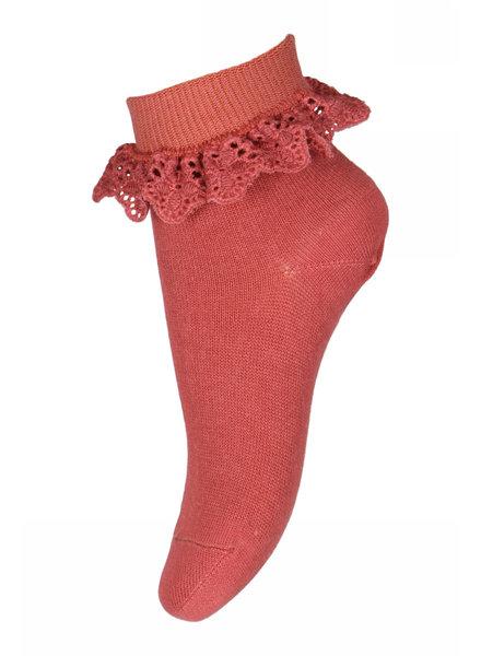 MP Denmark korte sok FILIPPA met ruches - 80% katoen - rood bruin - maat 19 tm 36