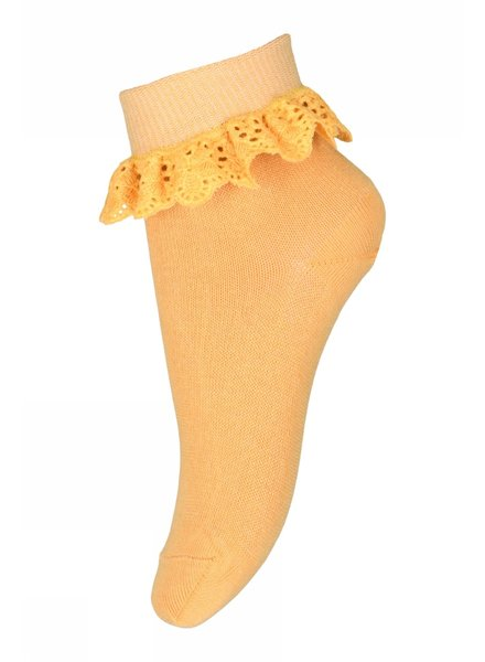 MP Denmark short sock FILIPPA with ruffles - 80% cotton - soft yellow - size 19 to 36