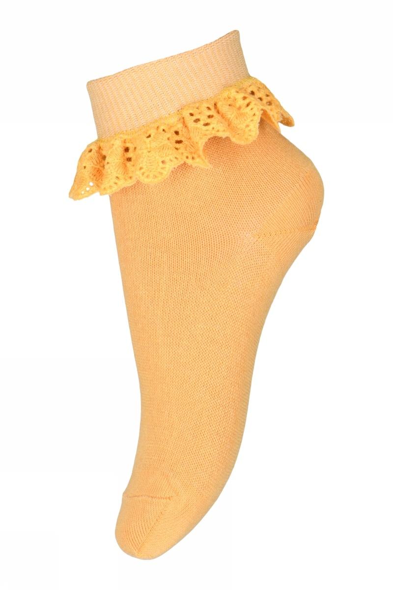 MP Denmark korte sok FILIPPA met ruches - 80% katoen - zacht geel - maat 19 tm 36
