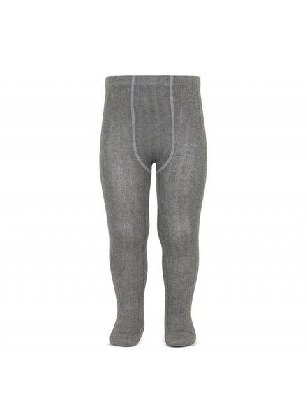 Condor cotton tights - wide-rib basic - grey melange  - 50 to 180 cm