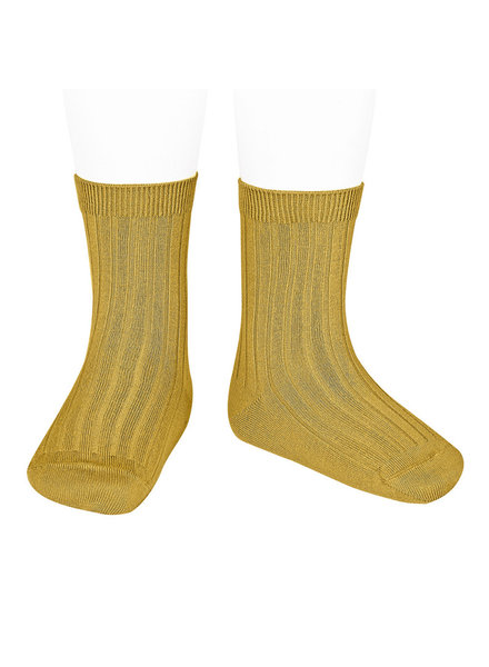 Condor short socks - ribbed cotton - mustard - size 18 to 41