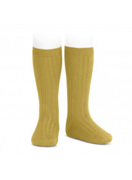 Condor knee socks - ribbed cotton - mustard - size 00 to 41