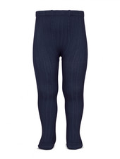 Condor cotton tights - wide-rib basic - navy blue - 50 to 180 cm