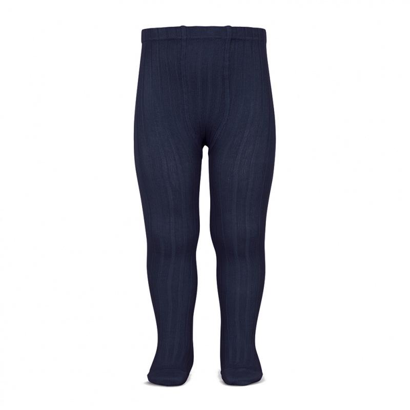 Condor cotton tights - wide-rib basic - navy blue - 50 to 180 cm