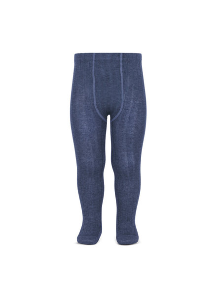 Condor cotton tights - wide-rib basic - denim blue - 50 to 180 cm