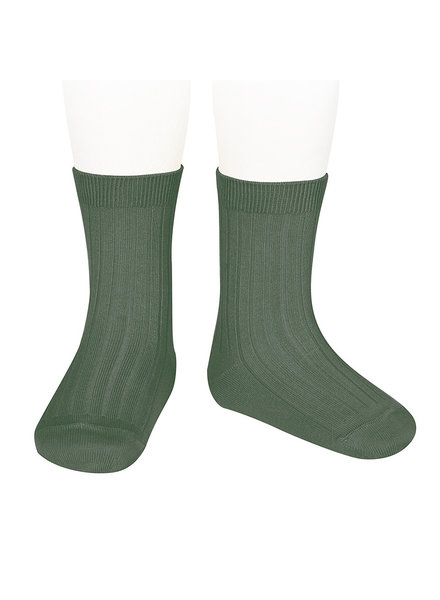 Condor short socks - ribbed cotton - lichen green  - size 18 to 41