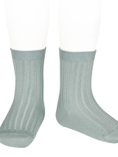 Condor short socks - ribbed cotton - pale jade  - size 18 to 41