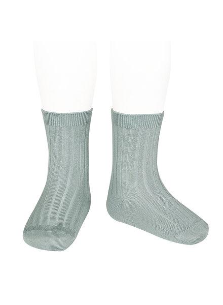 Condor korte katoenen sokken - geribd katoen - pale jade  - maat 18 tm 41