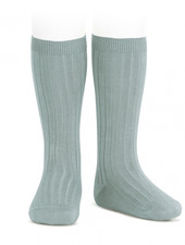 Condor knee socks - ribbed cotton - pale jade - size 00 to 41
