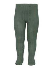 Condor cotton tights - wide-rib basic - lichen green - 50 to 180 cm