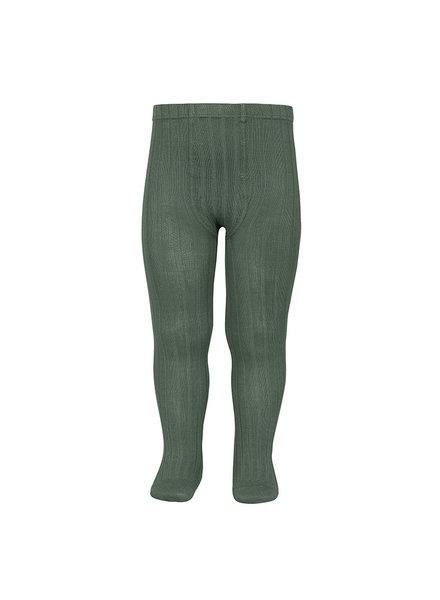 Condor cotton tights - wide-rib basic - lichen green - 50 to 180 cm