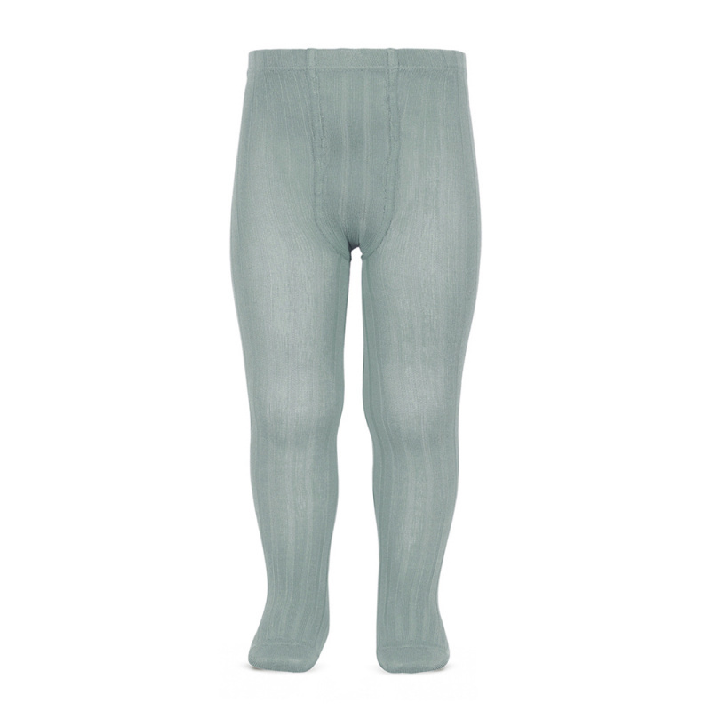 Condor cotton tights - wide-rib basic - pale jade - 50 to 180 cm