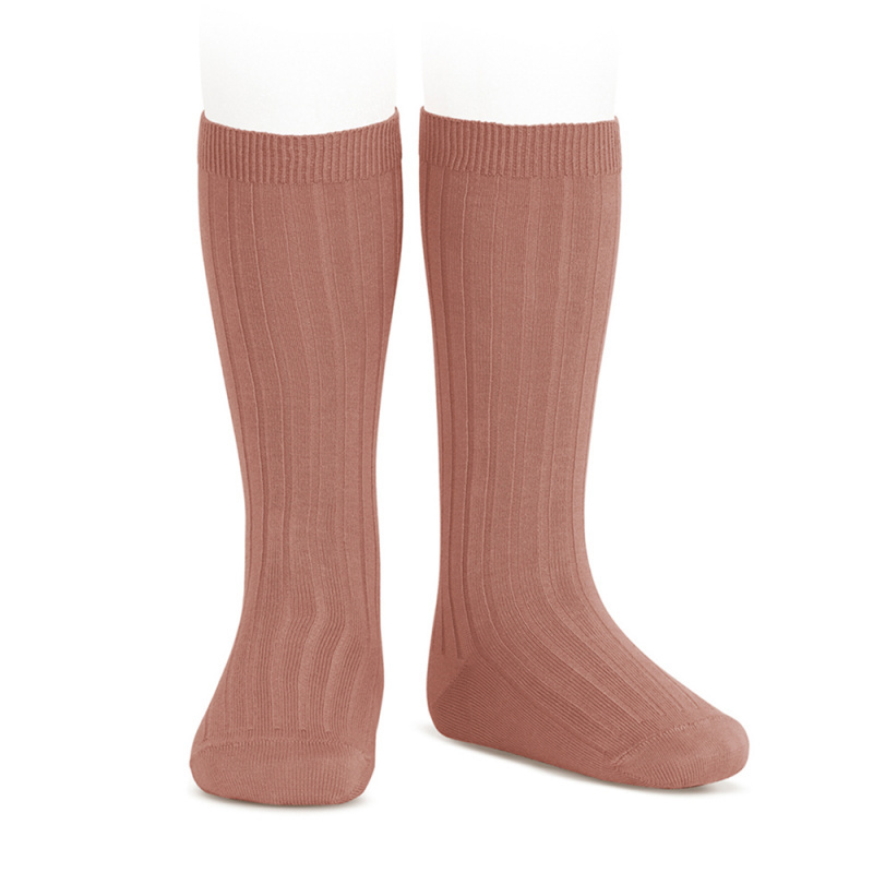 Condor knee socks - ribbed cotton - terracotta pink - size 00 to 41