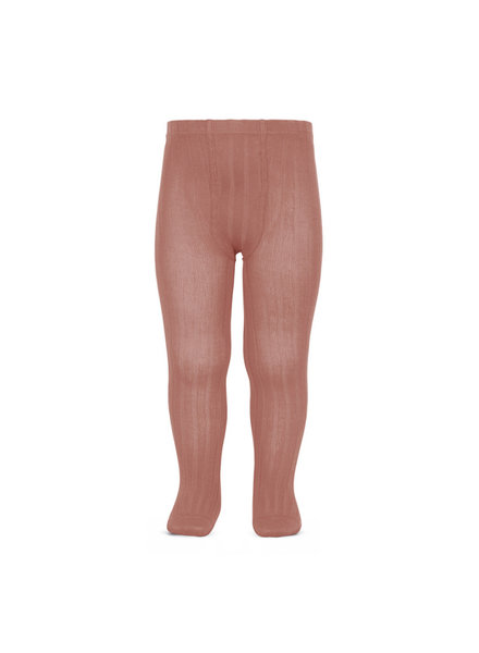 Condor cotton tights - wide-rib basic - terracotta pink - 50 to 180 cm