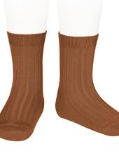 Condor korte katoenen sokken - geribd katoen - roest - maat 18 tm 41