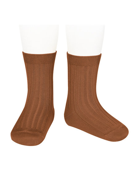Condor short socks - ribbed cotton - rust - size 18 to 4