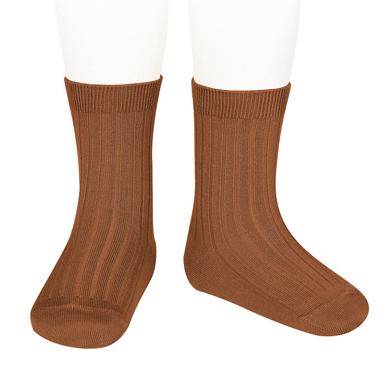 Condor short socks - ribbed cotton - rust - size 18 to 41