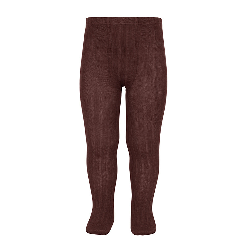 Condor cotton tights - wide-rib basic - red brown - 50 to 180 cm