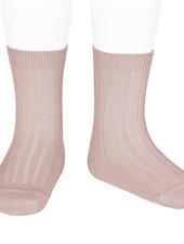 Condor korte katoenen sokken - geribd katoen - oud roze - maat 18 tm 41