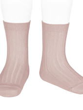 Condor short socks - ribbed cotton - old rose - size 18 to 41