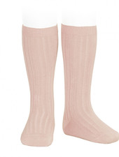 Condor knee socks - ribbed cotton - old rose - size 00 to 41