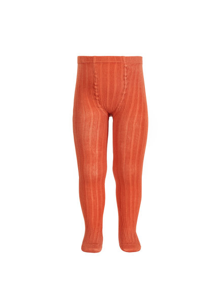 Condor cotton tights - wide-rib basic - clay orange - 50 to 180 cm