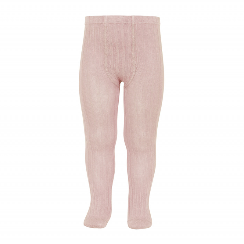 Condor cotton tights - wide-rib basic - old rose - 50 to 180 cm