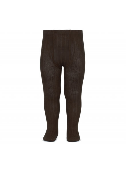 Condor cotton tights - wide-rib basic - dark brown - 50 to 180 cm