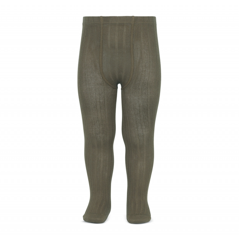 Condor cotton tights - wide-rib basic - taupe - 50 to 180 cm