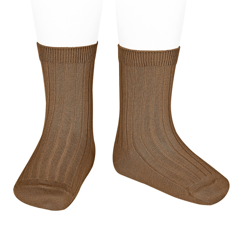 Condor short socks - ribbed cotton - toffee - size 18 to 41