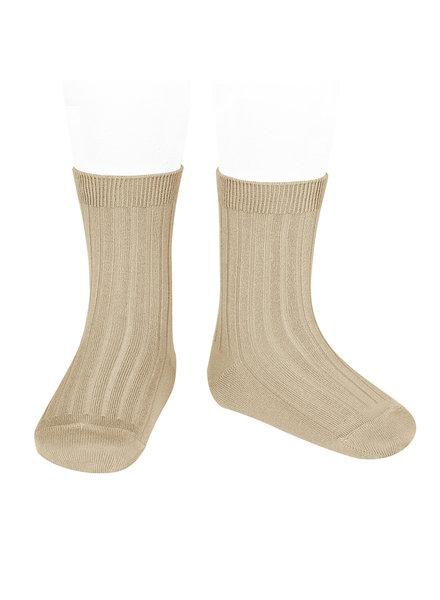 Condor korte katoenen sokken - geribd katoen - nougat beige - maat 18 tm 41