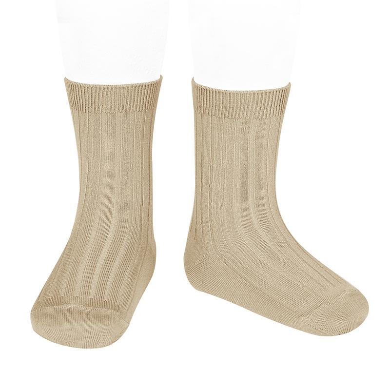 Condor short socks - ribbed cotton -  nougat beige - size 18 to 41