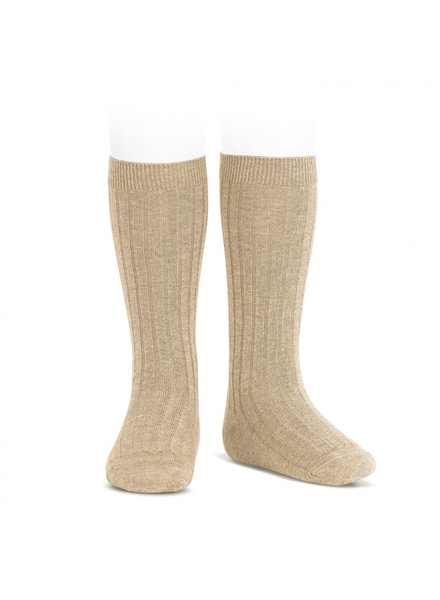 Condor knee socks - ribbed cotton - nougat beige  - size 00 to 41