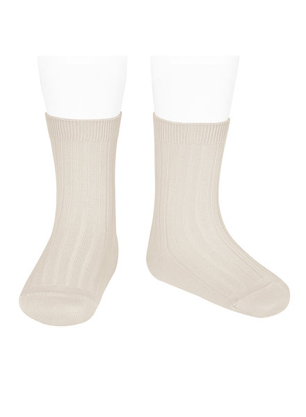 Condor short socks - ribbed cotton - linen - size 18 to 41