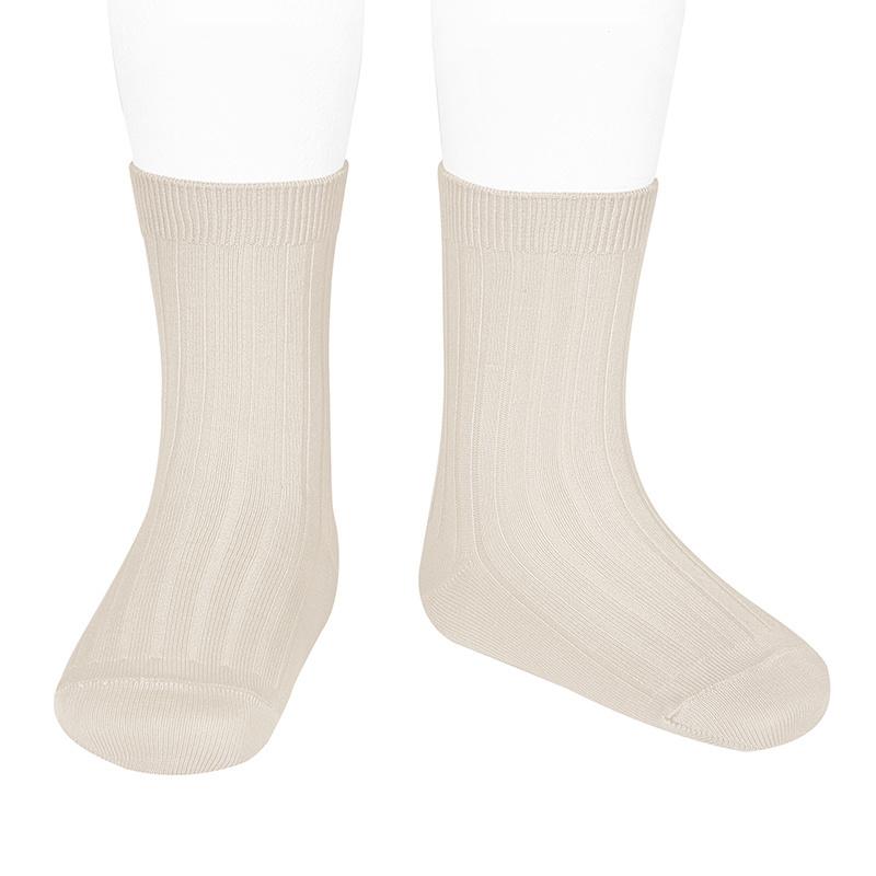 Condor short socks - ribbed cotton -  linen - size 18 to 41