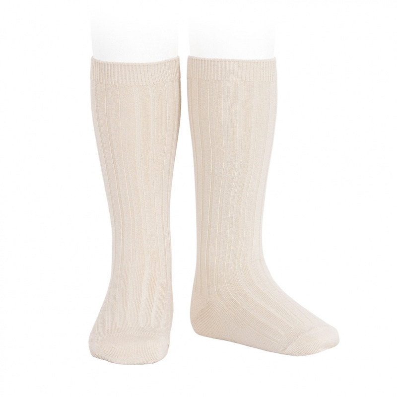 Condor knee socks - ribbed cotton - linen - size 00 to 41