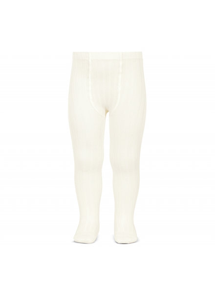 Condor cotton tights - wide-rib basic - off white - 50 to 180 cm