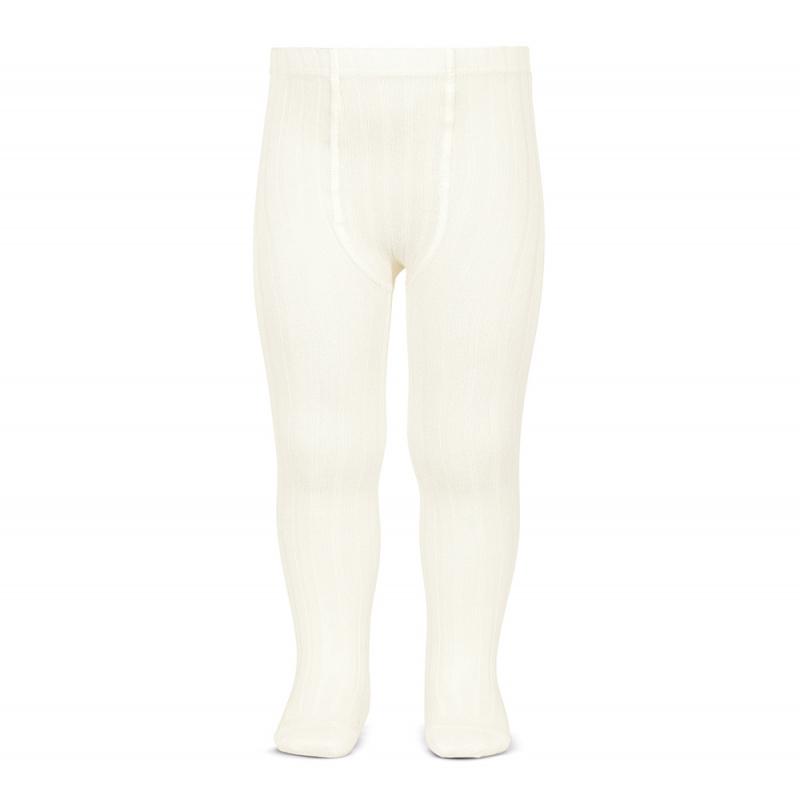 Condor cotton tights - wide-rib basic - off white - 50 to 180 cm