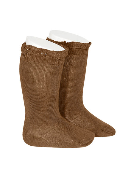 Condor lace trim knee socks  - toffee - size 0 to 35 -