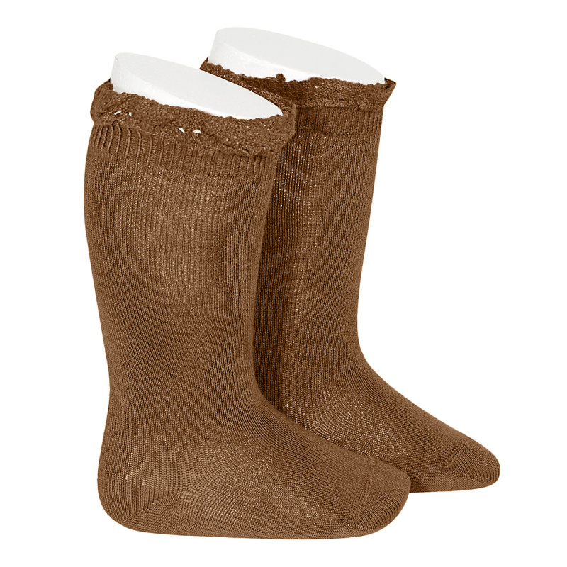 Condor lace trim knee socks  - toffee - size 0 to 35