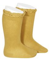 Condor lace trim knee socks  - mustard - size 0 to 35