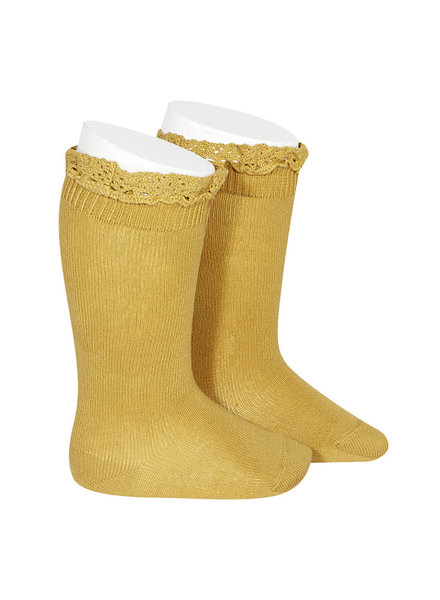Condor lace trim knee socks  - mustard - size 0 to 35