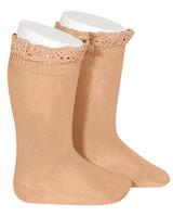 Condor lace trim knee socks  - peach - size 0 to 35