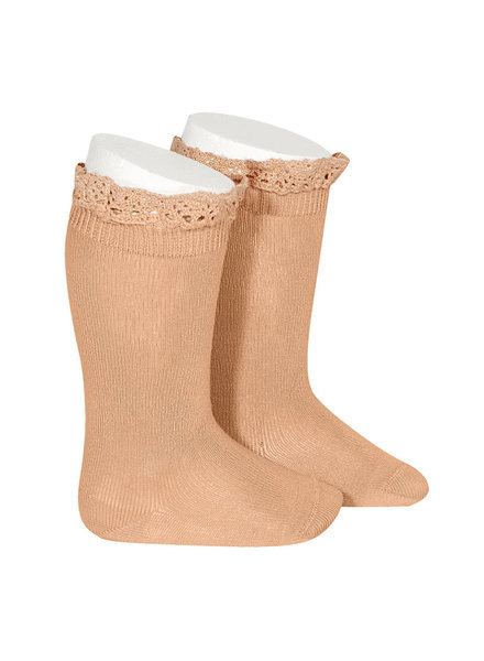 Condor lace trim knee socks  - peach - size 0 to 35
