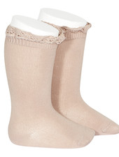 Condor lace trim knee socks  - old rose - size 0 to 35