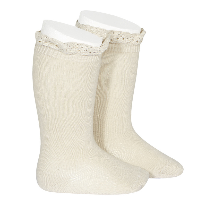 Condor lace trim knee socks  - linen - size 00 to 35